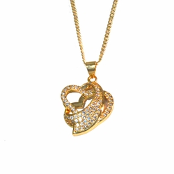 1-2427-1769-f2 18kt Gold Layered Heart Pendant with Curblink chain,