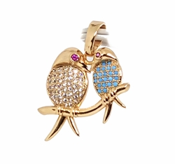 "1-2438-f11 18kt Brazilian Gold Layered 1"" Love Birds Pendant with Turquoise Blue and CZ Stones. 17mm wide."