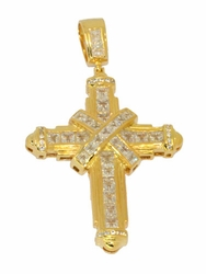 1-2444-D1 Mens Large CZ Cross (Iced)