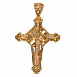 "1-2444-e11 Gold Layered CZ Iced Cross. Large. 4""."