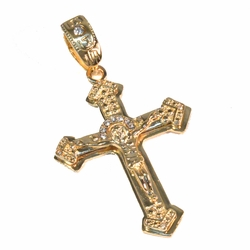 1-2444-f2 18kt Gold Layered Large Christ Cross with CZ's.