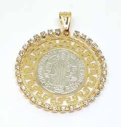 1-2445-f5 18kt Brazilian Gold Layered Two Tone San Benito Pendant with Crystal Accents