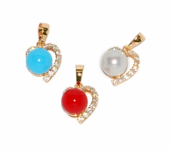 1-2462-D1 CZ Heart Charm with Colored Pearl