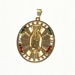 1-2469-f2 18kt Brazilian Gold Layered Virgen de Guadalupe Pendant with Mexico Colored Crystals