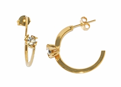 1-2516-D1 CZ Semi Hoop Earrings
