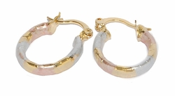 1-2575-D1 Three Tone Hoop Earrings