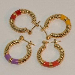 1-2602-e6 Gold Plated Color Basket Hoops 4x22mm