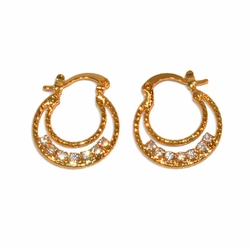 1-2631-e11 Gold layered Double Hoop Earrings with Crystals. 18mm.