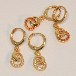 "1-2637-e6 Trendy Circles with Crystals. 9mm circles and 1"" length."