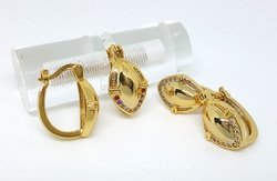 1-2638-f7 18kt Brazilian Gold Layered Oval Shield Hoops with CZ Accents. 11mm shield, 15x20mm hoops.