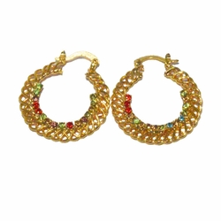 1-2639-f3 18kt Brazilian Gold Layered Braid Design Hoops with Multicolor Crystals.