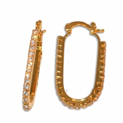1-2640-e11 Gold Layered oval Crystal Studded Hoops. 2mm stones, 17x35mm hoops.