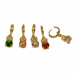 "1-2640-e12 Gold Layered Love CZ Drop Earrings. 1.25"" length. 8mm CZ. 4 colors."
