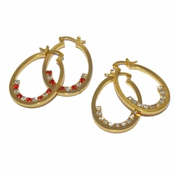 1-2648-f3 18kt Brazilian Gold Layered Oval Hoops with Crystal Stones.