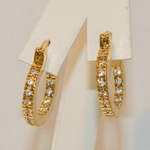 1-2652-e6 Gold Plated Outside and Inside CZs Eternity Hoop Earrings. 3mm wide, 20mm diameter.
