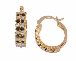 1-2660-D1 Black/White CZ Hoops