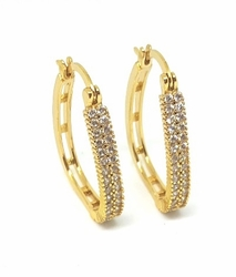 1-2672-f5 18kt Brazilian Gold Layered CZ Hoop Earrings - Rounded Triangular Shaped