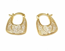 1-2679-f6 18kt Brazilian Gold Layered CZ Basket Hoops with Heart Design. 1 inch.