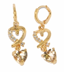1-2687-D2 Hoops with Heart and CZ Charm