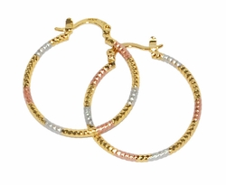 1-2696-D3 Three Tone Ridged Hoops