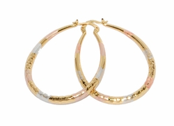 1-2705-D3 Three Tone Tear Drop Hoops
