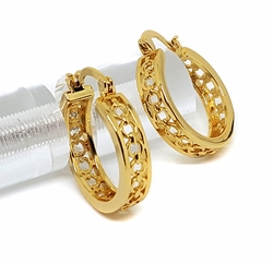 1-2709-f28 18kt Brazilian Gold Layered Circles Design hoop earrings. 6mm wide by 25mm diameter.
