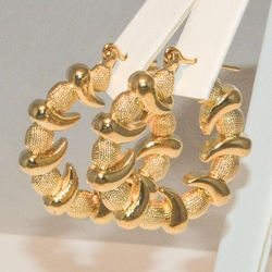 1-2710-e3 *Gold Plated Puff Design Hoops 30mm
