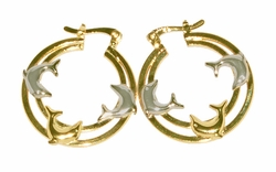 1-2711-D5 Two Tone Dolphin Hoops