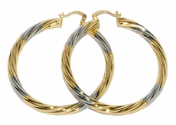 1-2729-D1 Two Tone 60mm Twist Hoops