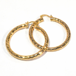 1-2730-f1 18kt Gold Plated Diamond Cut Hoop Earrings, 4mm thick, 45mm diameter,