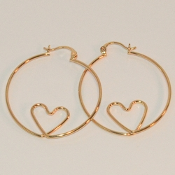 1-2731-B-e6 Wire Hoops with Heart. 38mm