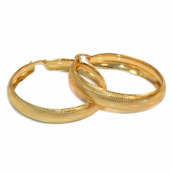 1-2733-e8 Gold Plated large Textured Hoops. 9x50mm.