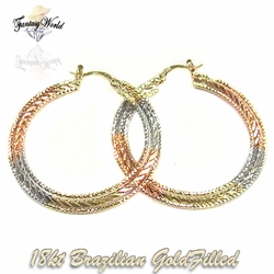 1-2741-C1 Three Tone Diamond Cut Hoops