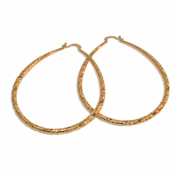 1-2741-e18 Gold Plated Large Twist Tear Drop Hoops. 5mm thick, 60x85mm diameters.