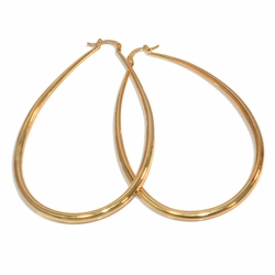 1-2741-e8 Gold Plated Large Tear Drop Hoops. 4mm thick, 65x80mm diameters.
