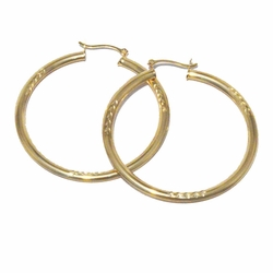 1-2753-f13 18KT Brazilian Gold Filled Semi-Flat Hoop Earrings with Etched Designs