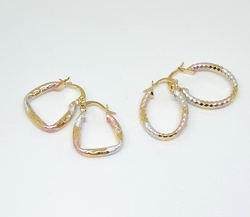 1-2761-f6 18kt Brazilian Gold Layered Two Pair set of Three Tone Diamond Cut Hoop Earrings. 1 Oval pair and 1 Triangular Pair. Approx-20mm