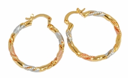 1-2763-D1 Three Tone Twist Hoops