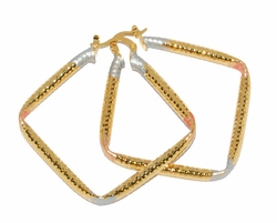 1-2771-D1 Three Tone Square Hoops