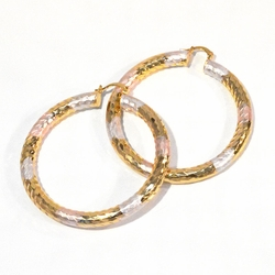 1-2776-f1 18kt Gold Plated Three Tone Diamond Cut Hoop Earrings, 6mm thick, 80mm diameter,