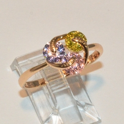 1-3065-e2 Gold Plated Multicolor CZ Ring