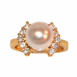 1-3076-e11 Gold layered Pearl and CZ Ring. Sizes 5-8.