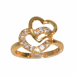 1-3082-e11 Godl Layered Hearts CZ Ring. Sizes 5-8.