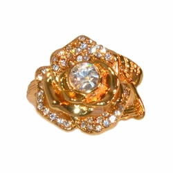 1-3083-e11 Gold Layered Flower Ring with Crystals. Sizes 6-9.