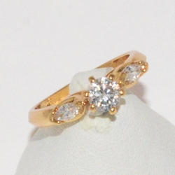1-3084-e1 Gold Plated CZ Ring