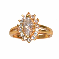 1-3091-e11 Gold Layered Marquise Cut CZ Ring. Sizes 6-8.