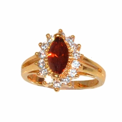 1-3091-e211 Gold Layered Red Marquise Cut CZ Ring. Sizes 6-8.