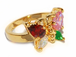 1-3101-D1-MLT Multicolor CZ Butterfly Ring