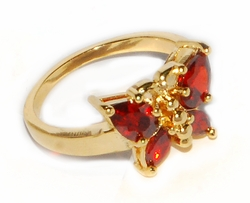 1-3101-D1-RED Red CZ Butterfly Ring