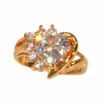 1-3108-e11 Gold Layered Heart Ring with CZ's. Sizes 7-9.